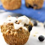 Heallthy Dairy-Free Blueberry Oatmeal Muffins with a dairy-free option from Flavour and Savour