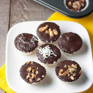 15 minute Quick and Easy Chocolate Coconut Bites. Naturally sweetened coconut bites covered in chocolate and optional nuts. #paleo #gluten-free #dairy-free |www.flavourandsavour.com