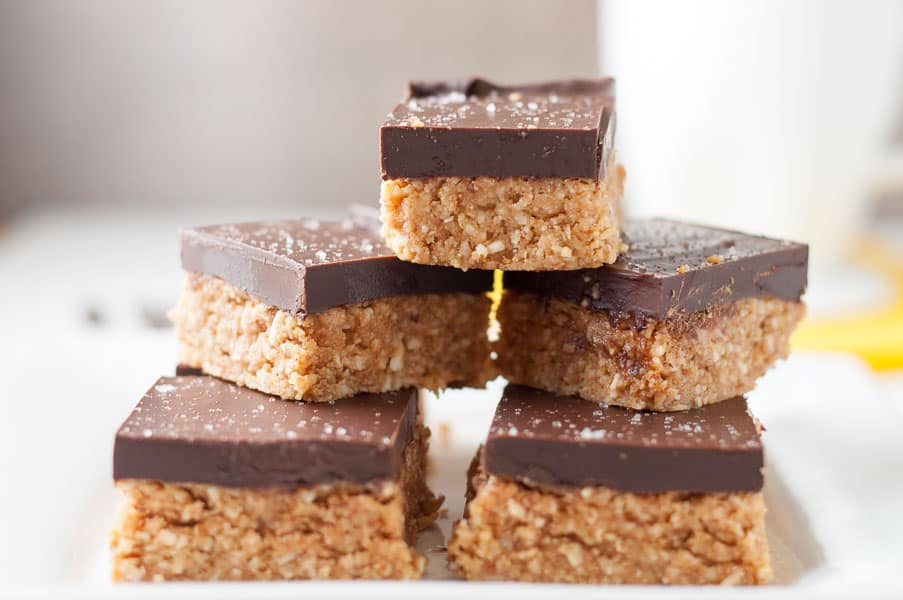 No-bake, grain-free chocolate peanut butter bars from Flavour and Savour