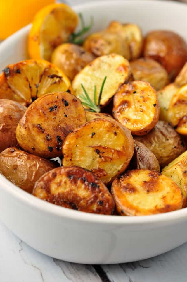 Crispy Lemon Oven-Roasted Potatoes, one of 10 recipes starring lemon from Flavour and Savour. Soft on the inside, crispy on the outside!