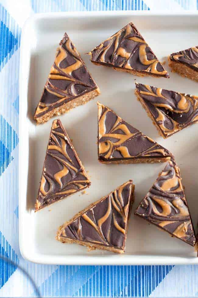Peanut Butter Swirl Chocolate Bars. Grain-free, no-bake peanut butter bars, ready in 20 minutes!