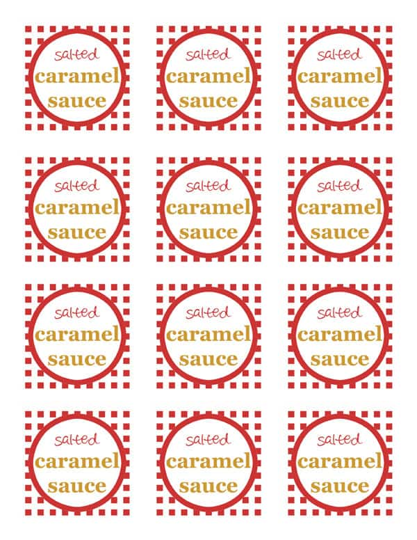 Salted Caramel Sauce Free Printable Toppers for Mason Jars.
