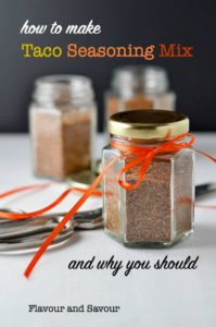 How to Make Taco Seasoning Mix. Small jars of homemade spice mix