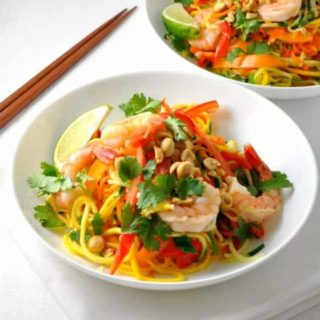 Zoodle Pad Thai with Shrimp and Peanut Sauce from Flavour and Savour