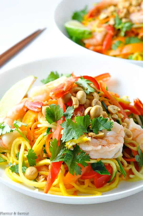 Close up view of Shrimp Pad Thai made with zucchini noodles