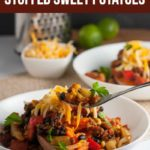 Pinterest Pin for Chipotle Chili Stuffed Sweet Potatoes