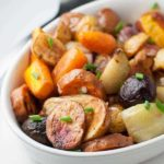 How to make Crispy Apple Cider Roasted Root Vegetables.