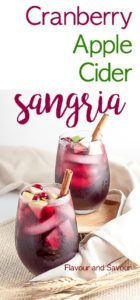 Celebrate the season with this simple Cranberry Apple Cider Sangria flavoured with fresh cranberries and apples. This one is a crowd-pleaser for any season!