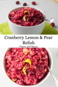 PInterest pin for Cranberry Lemon and Pear Relish