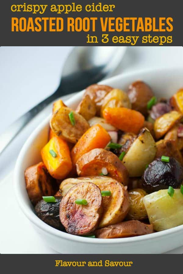 Crispy Apple Cider Roasted Root Vegetables pin
