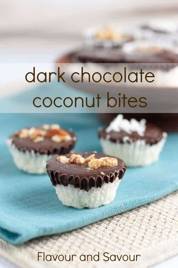 15 minute quick and easy Dark Chocolate Coconut Bites. A treat for kids, a healthier indulgence for you! #paleo #gluten-free #dairy-free