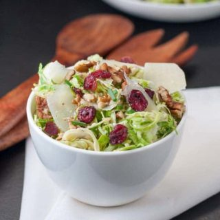 Shaved Brussels Sprout Salad with Cranberries, Pecans and Parmesan