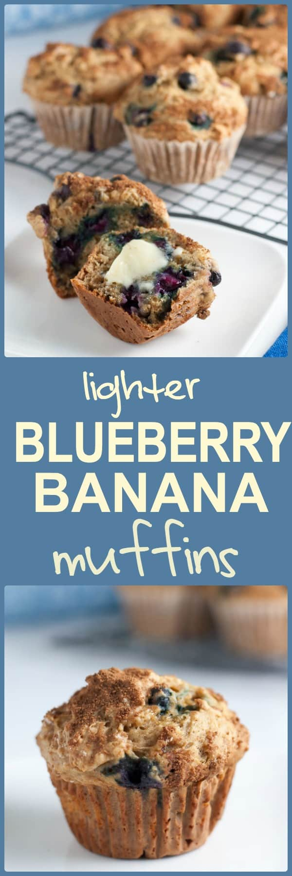 Healthy Low-Fat Blueberry Banana Muffins. Less sugar, less fat, less dairy, but ALL the flavour! |www.flavourandsavour.com