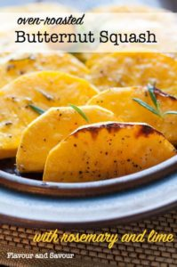 Slices of oven-roasted Butternut Squash with Rosemary and Lime