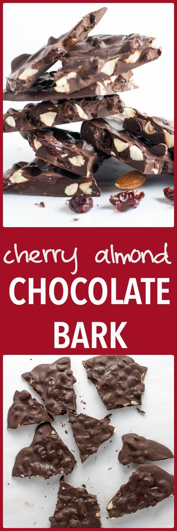 Cherry Almond Chocolate Bark. Need a last-minute sweet or hostess gift? Fast and super easy! Only 3 ingredients.