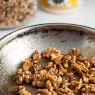 Maple Glazed Walnuts. Perfect salad topper! 3 minutes. Just walnuts, maple syrup and a pinch of salt. |www.flavourandsavour.com