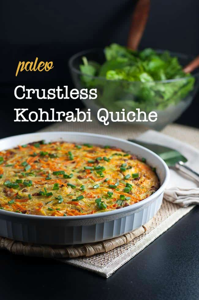 Paleo Crustless Kohlrabi Quiche with text overlay