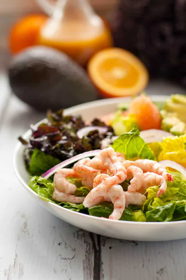 Citrus Avocado Salad with Baby Shrimp and Smoky Vinaigrette in a bowl with oranges, grapefruit and avocado in the background.