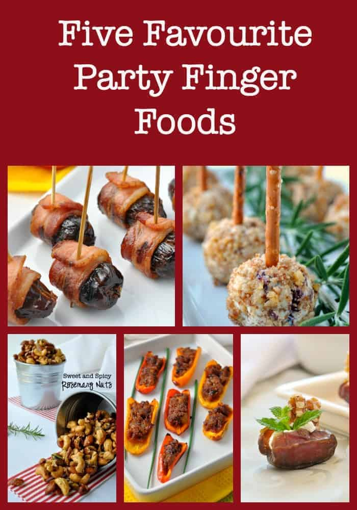 Five Favourite Party Finger Foods. Easy and popular appetizers and party snacks for holiday entertaining, includes mini cheeseballs on a stick, bacon-wrapped dates, stuffed mini peppers, spiced nuts and more. Repin to save for your next party.