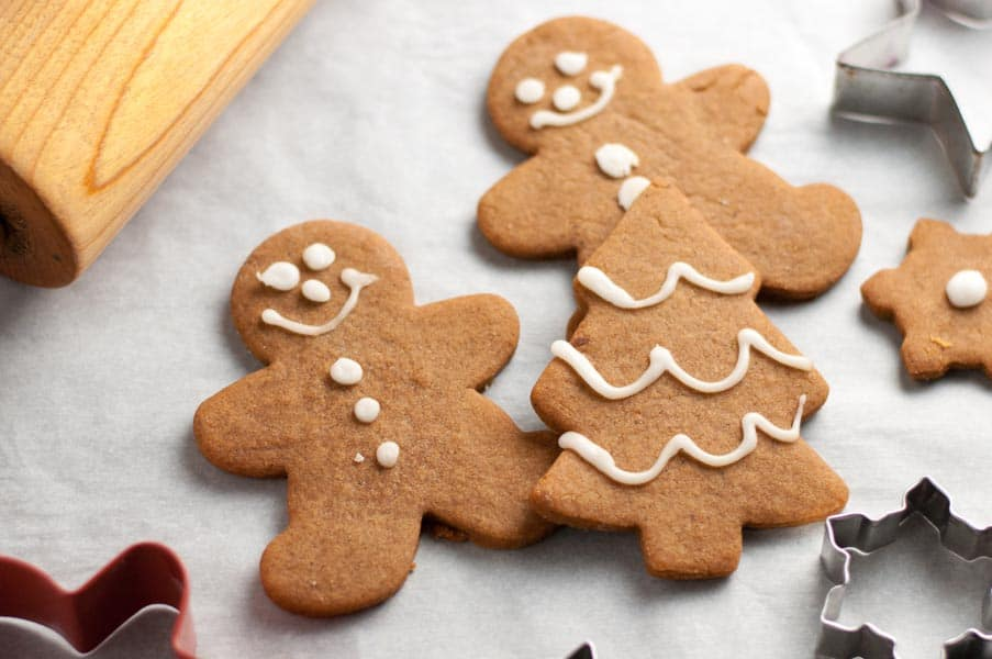 Traditional and Reliable Gingerbread Cut-Out Cookies with decorations