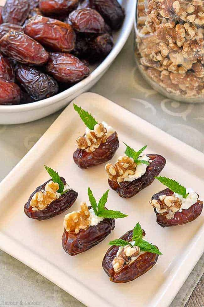 Soft and tender Medjool dates stuffed with creamy goat cheese, toasted walnuts and fresh mint.