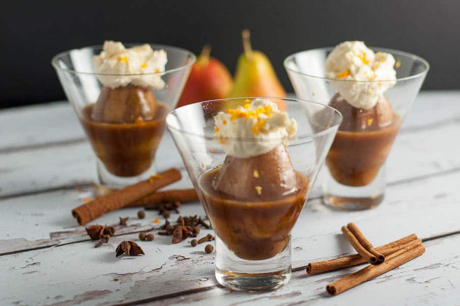 Mulled Cinnamon-Orange Poached Pears with Mascarpone. Tiny pears poached in orange juice flavoured with cinnamon, cloves, allspice, nutmeg and optional TripleSec. Serve with a dollop of mascarpone sweetened with maple syrup and orange zest. Simmer in the oven while you have dinner. So good!