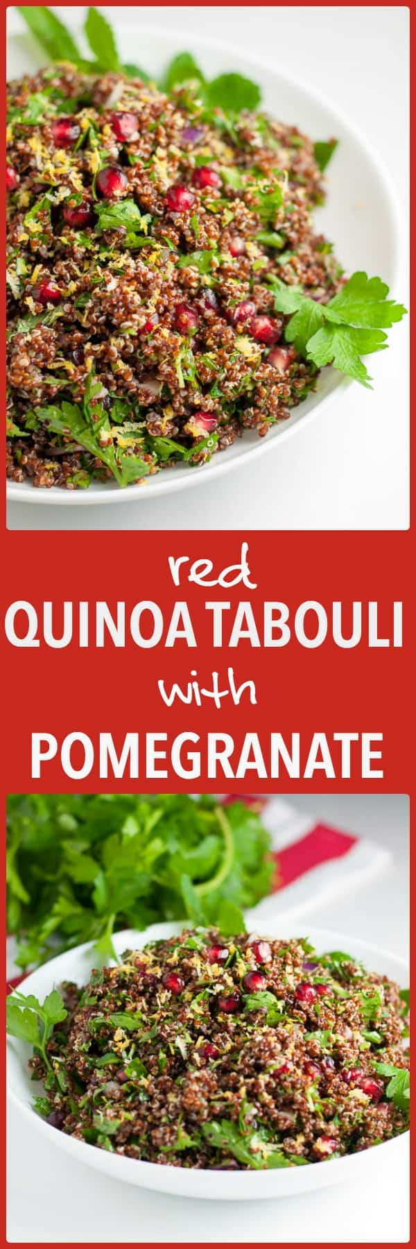 Red Quinoa Tabouli with Pomegranate. Gluten-free and vegan. All the flavour (and more) of traditional tabouli without the gluten!