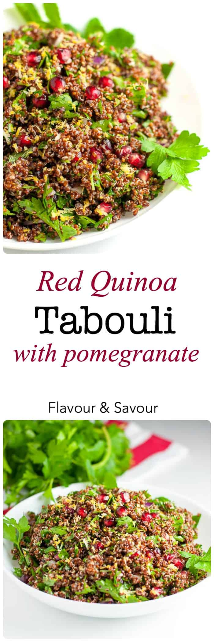 Red Quinoa Tabouli with Pomegranate |www.flavourandsavour.com