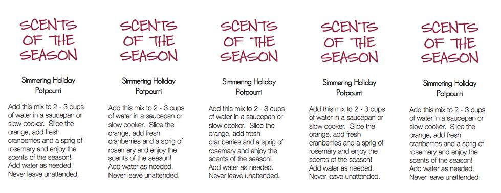 Scents of the Season Gift Tags ptintable