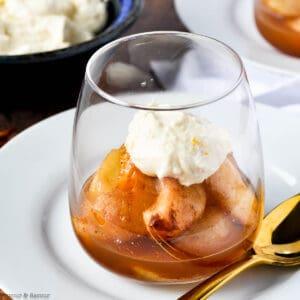 mulled cinnamon orange pears in a dessert glass