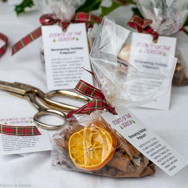 Simmering Holiday Potpourri in cellophane bags with gift tags
