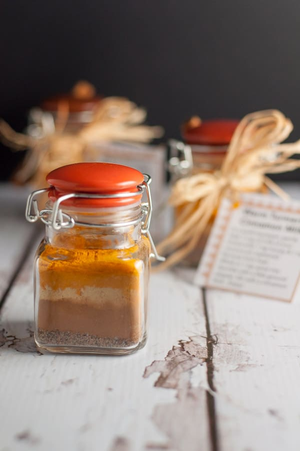 Recipe, instructions and printable tags to make Warm Cinnamon Turmeric Milk.