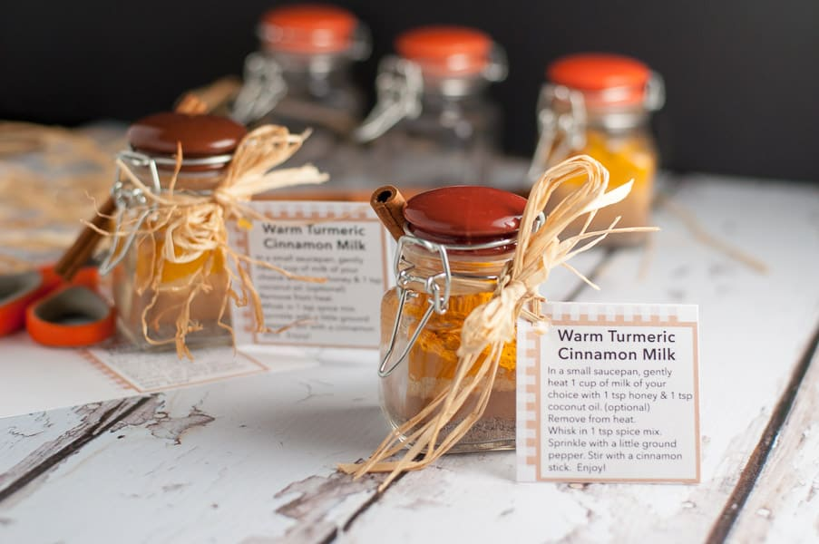 Warm Turmeric Cinnamon Spice Mix in jars with gift tags
