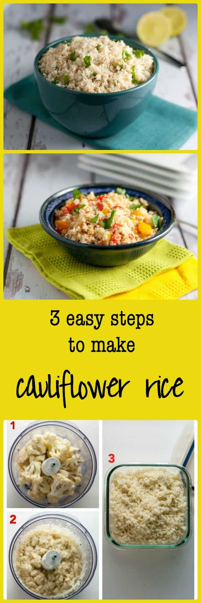 How to Make Cauliflower Rice. Here is a low-carb alternative to regular rice. You won't believe just how good it is until you try it! 3 easy steps.