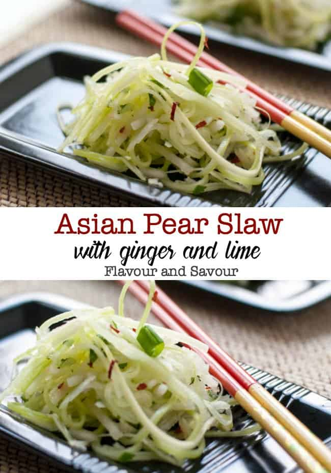 Asian Pear Slaw with Ginger and Lime image with text overlay