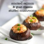 Easy Smoked Salmon and Goat Cheese Stuffed Mushrooms on china spoons