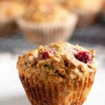 Paleo Cranberry Pear Muffins. A tender, moist grain-free paleo muffin made with almond flour and naturally sweetened with ripe pears and honey. Use fresh or dried cranberries.
