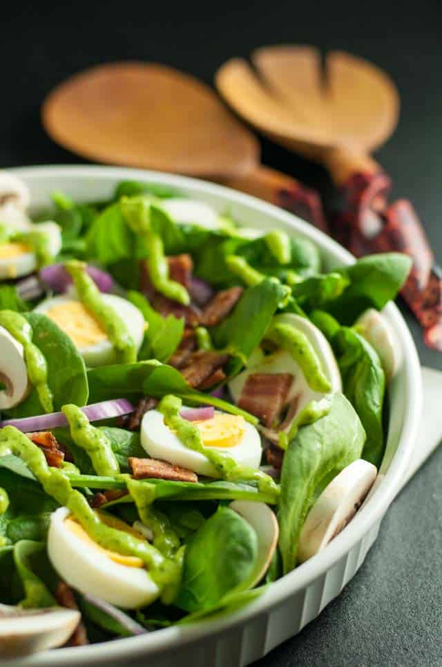Classic Spinach Salad with Creamy Avocado Dressing.