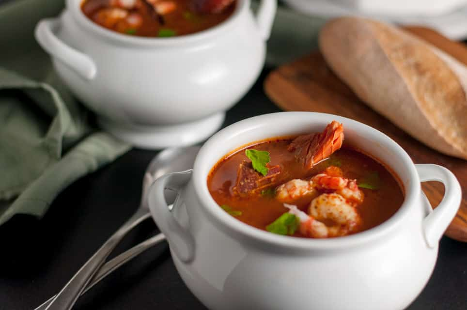 Simple Cioppino that anyone can make in two white bowls.