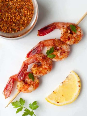 Easy 5-Minute Harissa Shrimp. Robust flavours of the Middle East on Wild Pacific Shrimp. A quick topping for a salad or appetizer.
