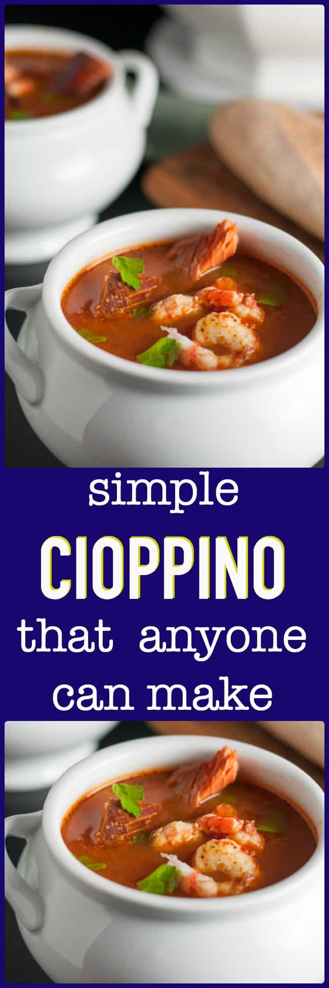 Simple Cioppino that anyone can make. Cioppino is a fabulous fish stew that originated in San Francisco and it featured in top restaurants. Here is a simple way to make it at home, using whatever seafood is available where you live. Restaurant quality food from your own kitchen! Paleo and gluten-free.