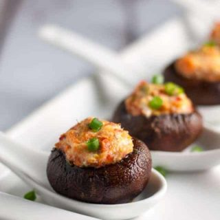 Smoked Salmon and Goat Cheese Stuffed Mushrooms