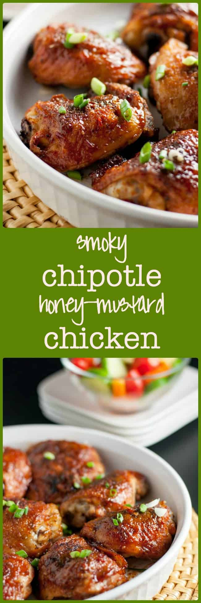 Smoky Chipotle Honey-Mustard Glazed Chicken Thighs. Juicy chicken, crispy skin with just the right amount of heat. An easy weeknight meal.