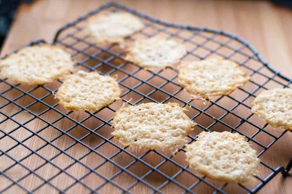 Easiest Ever Parmesan Crisps on a cooling rack.
