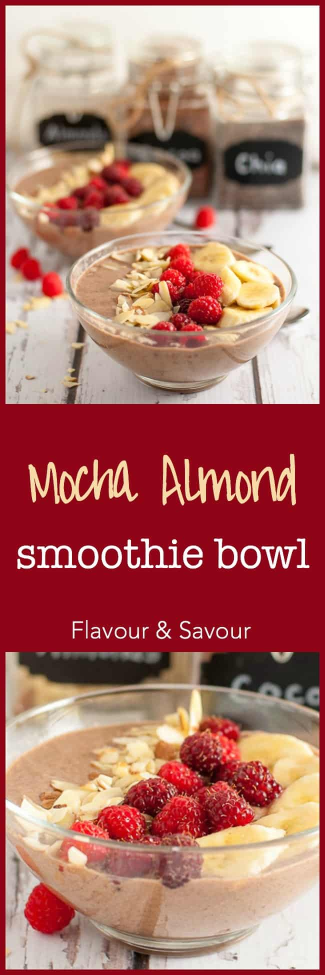 """Yummy recipe for a Mocha Almond Smoothie bowl with a secret ingredient plus a checklist of essential components of a smoothie bowl. 
