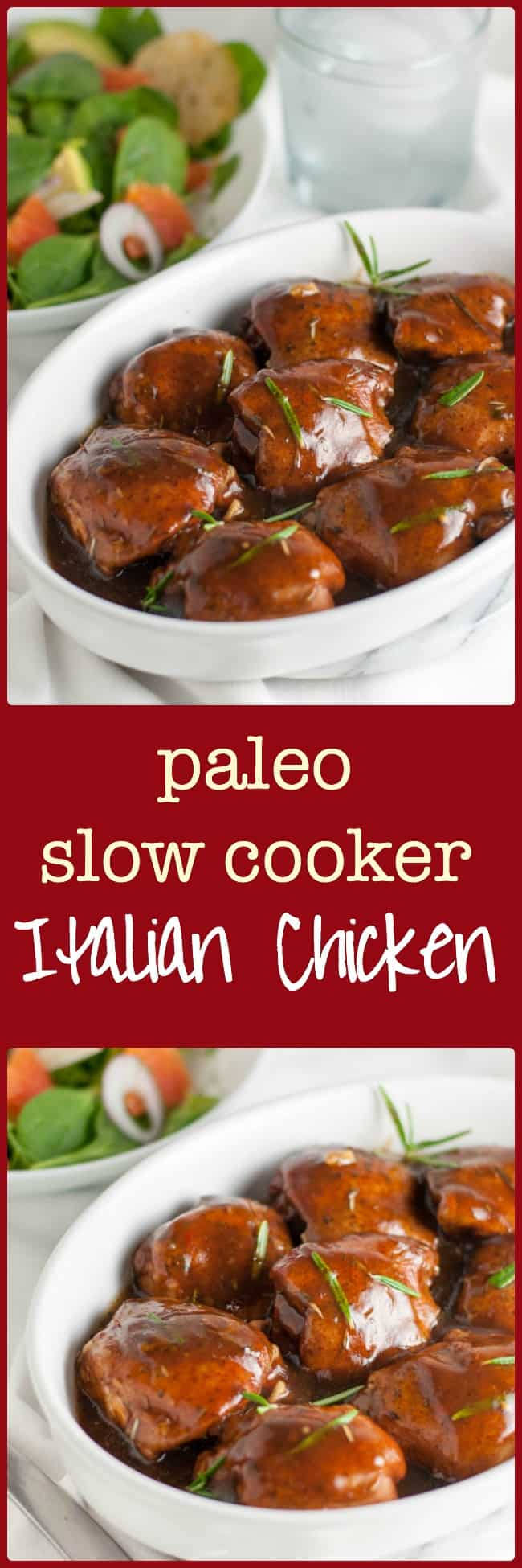 Easy Paleo Italian Chicken with Balsamic and Herbs. One-step recipe that you can make in your slow cooker.