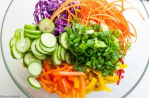 Ingredients for Thai Noodle Salad in a bowl