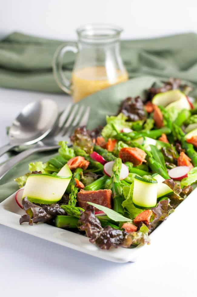 Smoked Salmon Asparagus Salad with Sesame Miso Vinaigrette