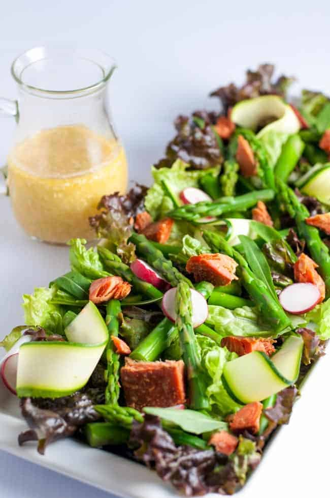 Asparagus Salad with Smoked Salmon and Sesame Miso Vinaigrette