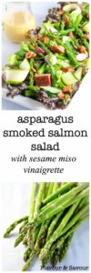 A Paleo and gluten-free fresh asparagus salad with smoked salmon, zucchini ribbons, and radishes on crisp greens with a to-die-for sesame miso dressing.
